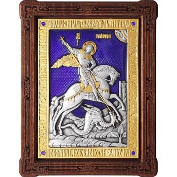 Икона Георгий Победоносец в серебре с эмалью и позолотой (арт. 12240327)