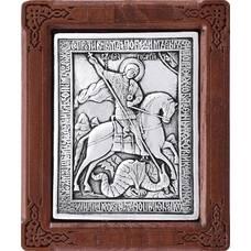 Икона Георгий Победоносец в серебре и деревянной рамкой (арт. 12240328)