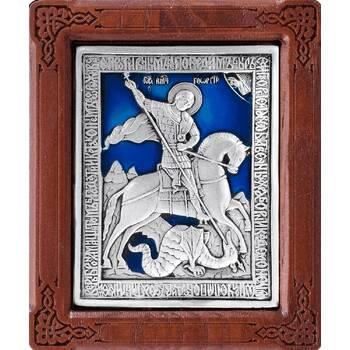 Икона Георгий Победоносец в серебре с эмалью и деревянной рамки (арт. 12240329)