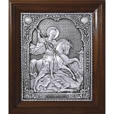 Икона Георгий Победоносец в серебре и деревянной рамкой (арт. 12240330)