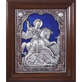 Икона Георгий Победоносец в серебре с эмалью и деревянной рамки (арт. 12240331)