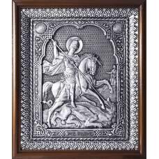 Икона Георгий Победоносец в серебре и деревянной рамкой с басмой (арт. 12240332)