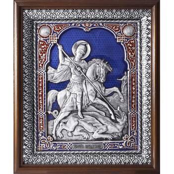 Икона Георгий Победоносец в серебре с эмалью и деревянной рамки с басмой (арт. 12240333)