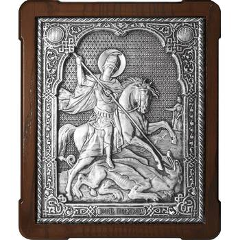Икона Георгий Победоносец в серебре и деревянной рамки (арт. 12240334)