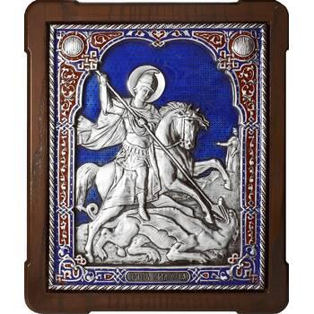 Икона Георгий Победоносец в серебре с эмалью и деревянной рамки с басмой (арт. 12240335)