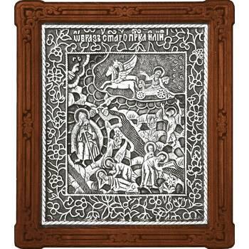 Икона Илия Пророк Фесвитянин в серебре и деревянной рамке (арт. 12240338)