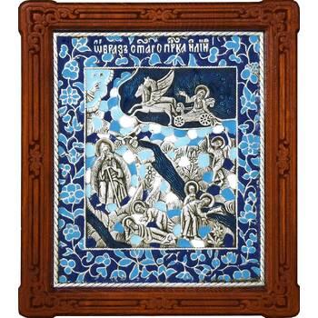 Икона Илия Пророк Фесвитянин в серебре с эмалью и деревянной рамке (арт. 12240339)