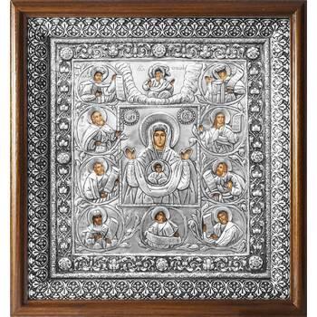 Курская-Коренная икона Божией Матери в ризе и деревянном киоте с басмой (арт. 1224034)