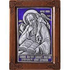 Икона Иоанн Богослов в серебре с эмалью и деревянной рамки (арт. 12240341)