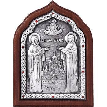 Икона Кирилл и Мария в серебре и деревянной рамки (арт. 12240342)