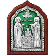 Икона Кирилл и Мария в серебре с эмалью и деревянной рамки (арт. 12240343)