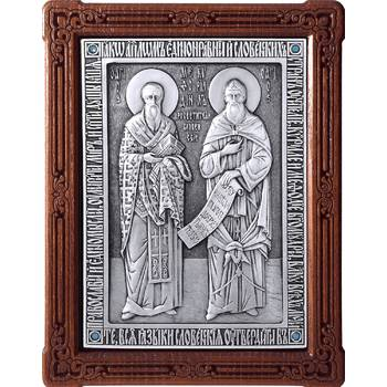 Икона Кирилл и Мефодий в серебре и деревянной рамки (арт. 12240344)