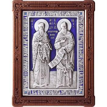 Икона Кирилл и Мефодий в серебре с эмалью и деревянном киоте (арт. 12240345)