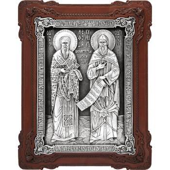 Икона Кирилл и Мефодий в серебре и деревянной киоте (арт. 12240346)