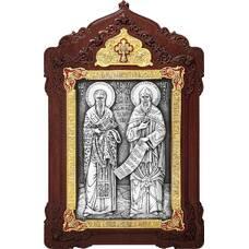 Икона Кирилл и Мефодий в серебре с эмалью и деревянном киоте (арт. 12240347)