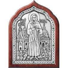 Икона Ксения Петербуржская в серебре и деревянной рамки (арт. 12240348)