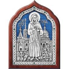 Икона Ксения Петербуржская в серебре с эмалью и деревянной рамки (арт. 12240349)