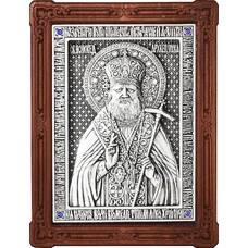 Икона Лука Войно-Ясенецкий, свт. Симферопольский и Крымский в серебре и деревянной рамке 12240350