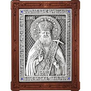 Икона Лука Войно-Ясенецкий, свт. Симферопольский и Крымский в серебре и деревянной рамке (арт. 12240350)
