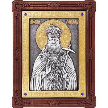 Икона Лука Войно-Ясенецкий, свт. Симферопольский и Крымский в серебре с позолотой (арт. 12240352)