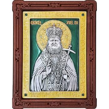 Икона Лука Войно-Ясенецкий, свт. Симферопольский и Крымский в серебре с позолотой и эмалью (арт. 12240353)