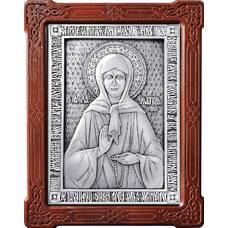 Икона Матрона Московская в серебре и деревянной рамкой (арт. 12240354)