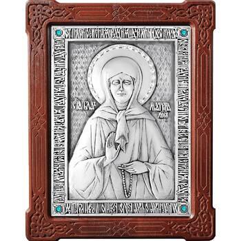 Икона Матрона Московская в серебре и деревянной рамке (арт. 12240355)