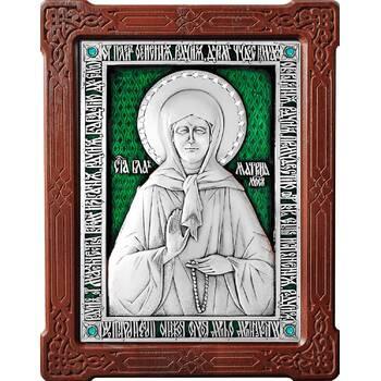 Икона Матрона Московская в серебре с эмалью и деревянной рамке (арт. 12240356)