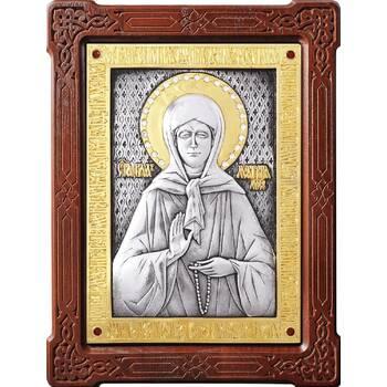 Икона Матрона Московская в серебре с позолотой и деревянной рамке (арт. 12240357)