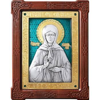 Икона Матрона Московская в серебре с эмалью и позолотой (арт. 12240358)