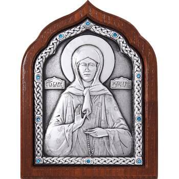 Икона Матрона Московская в серебре и деревянной рамкой (арт. 12240359)