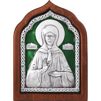 Икона Матрона Московская в серебре с эмалью и деревянной рамке (арт. 12240360)