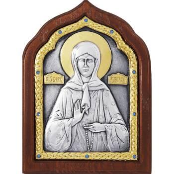 Икона Матрона Московская в серебре с позолотой и деревянной рамке (арт. 12240361)