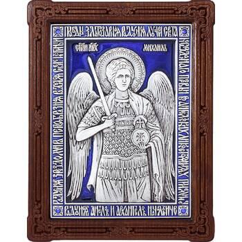 Икона Архангел Михаил в серебре с эмалью и деревянной рамке (арт. 12240364)