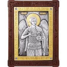 Икона Архангел Михаил в серебре с позолотой и деревянной рамке (арт. 12240365)