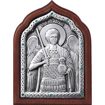 Икона Архангел Михаил в серебре и деревянной рамке (арт. 12240367)