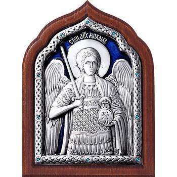Икона Архангел Михаил в серебре с эмалью и деревянной рамке (арт. 12240368)