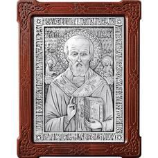 Икона Николай чудотворец Мирликийский в серебре и деревянной рамке (арт. 12240369)