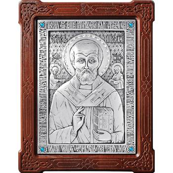 Икона Николай чудотворец Мирликийский в серебре и деревянной рамке (арт. 12240370)