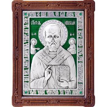 Икона Николай чудотворец Мирликийский в серебре с эмалью и деревянной рамке (арт. 12240371)