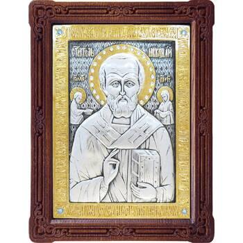 Икона Николай чудотворец Мирликийский в серебре с позолотой и деревянной рамке (арт. 12240372)