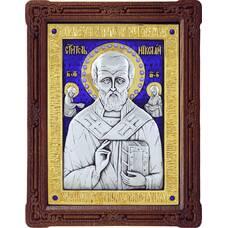 Икона Николай чудотворец Мирликийский в серебре с эмалью и позолотой (арт. 12240373)