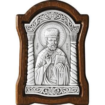 Икона Николай чудотворец Мирликийский в серебре и деревянной рамке (арт. 12240374)