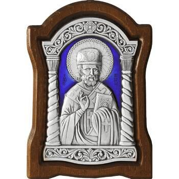 Икона Николай чудотворец Мирликийский в серебре с эмалью и деревянной рамке (арт. 12240375)