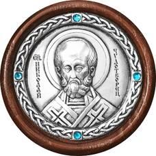 Икона в машину с образом святого Николая Чудотворца в серебре 12240376