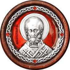 Икона в машину с образом святого Николая Чудотворца в серебре с эмалью 12240377