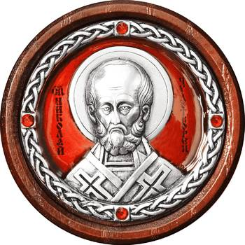 Икона в машину с образом святого Николая Чудотворца в серебре с эмалью (арт. 12240377)