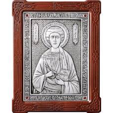 Икона Пантелеимон целитель в серебре и деревянной рамке (арт. 12240378)