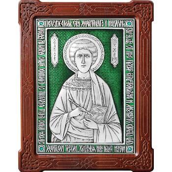Икона Пантелеимон целитель в серебре с эмалью и деревянной рамкой (арт. 12240379)