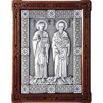 Икона Петр и Павел в серебре и деревянной рамке (арт. 12240380)